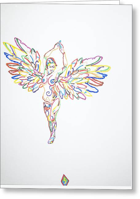 Religious Paintings Greeting Cards - Angel Nude Greeting Card by Stormm Bradshaw