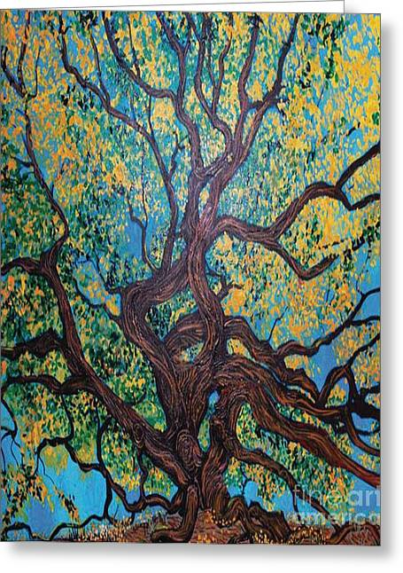Tree Roots Paintings Greeting Cards - Angel Oak Young Greeting Card by Stefan Duncan