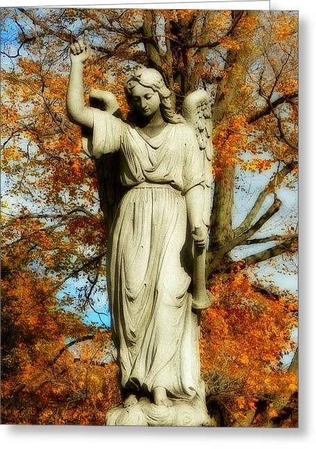 Autumn Graveyard Greeting Cards - Angel Of Autumn Greeting Card by Gothicolors Donna Snyder