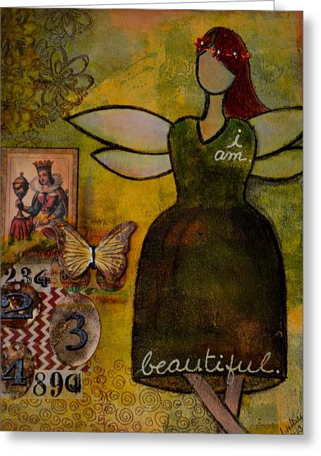 Angels Numbers Greeting Cards - Angel of Beauty Greeting Card by Lindy Powell