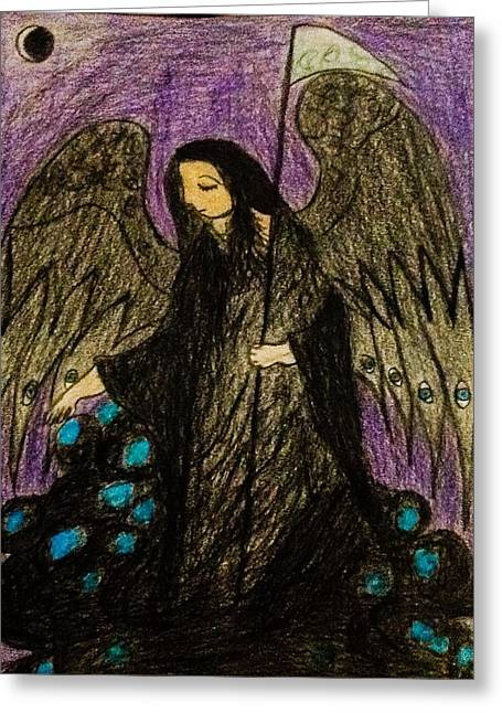 Night Angel Drawings Greeting Cards - Angel of Death Greeting Card by Andrew Moreno