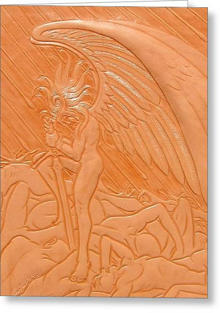 Rest Reliefs Greeting Cards - Angel of Death at War Greeting Card by Ron Moses