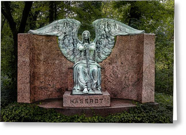 Grave Greeting Cards - Angel of Death Lake View Cemetery Greeting Card by Tom Mc Nemar