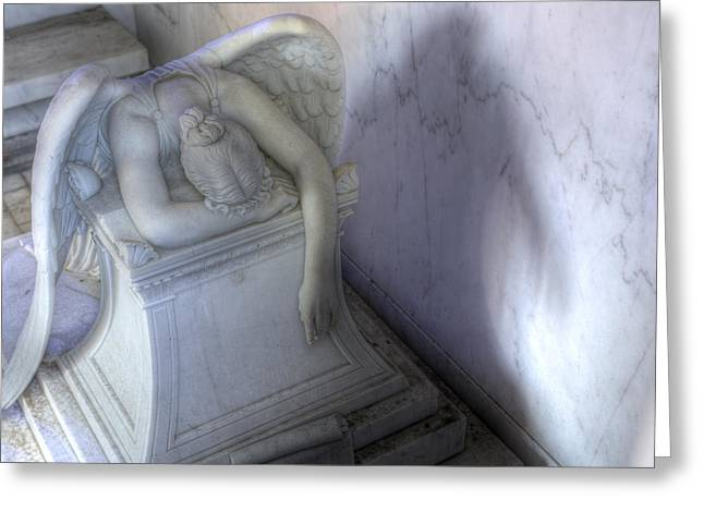 Metairie Cemetery Greeting Cards - Angel of Grief New Orleans 3 Greeting Card by Gregory Cox