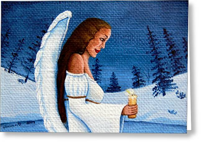 Night Angel Greeting Cards - Angel of Hope Greeting Card by Mareen Haschke