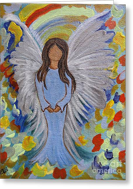 Spiritual Portrait Of Woman Greeting Cards - Angel of Devotion Greeting Card by Ella Kaye Dickey