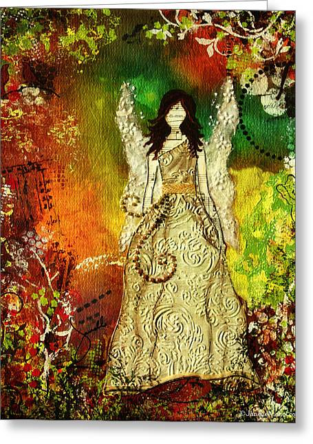Angel Of Light Christian Inspirational Mixed Media Artwork Of Angel Greeting Card by Janelle Nichol