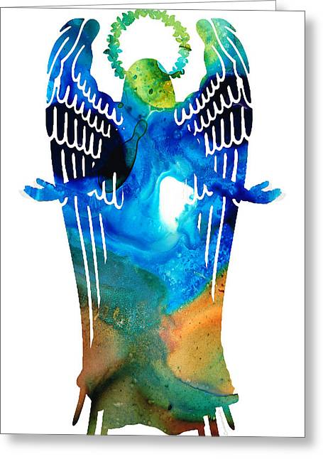 Heal Greeting Cards - Angel of Light - Spiritual Art Painting Greeting Card by Sharon Cummings