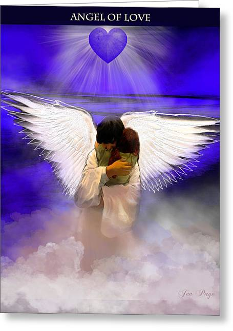 Angel Blues Greeting Cards - Angel of Love Greeting Card by Jennifer Page