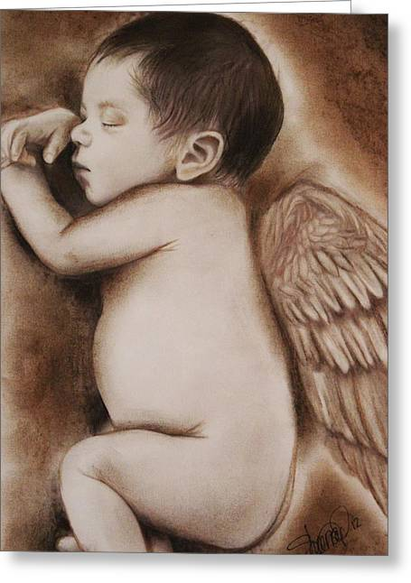 Coloured Pencil Greeting Cards - Angel of My Tears Greeting Card by Sheena Pike