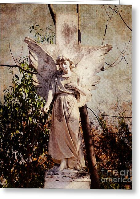 Catholic Art Greeting Cards - Angel of Old Greeting Card by Sonja Quintero
