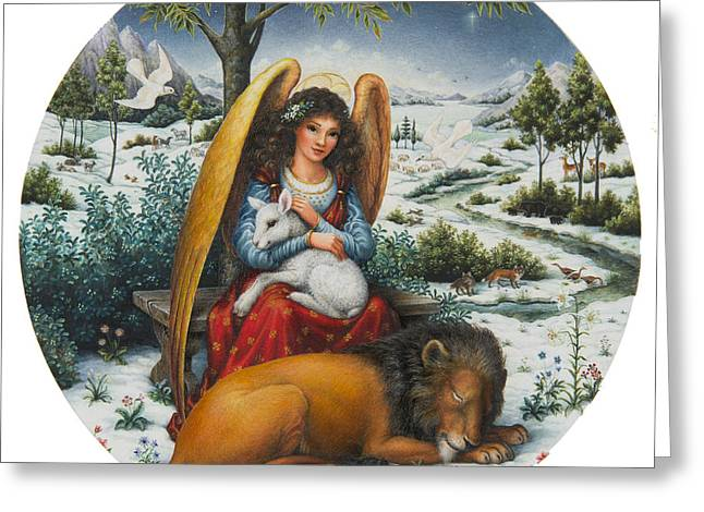 Lion Lamb Greeting Cards - Angel of Peace Greeting Card by Lynn Bywaters