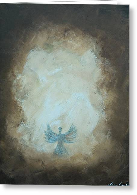 Angel Blues Pastels Greeting Cards - Angel Of Power Greeting Card by Tara Arnold