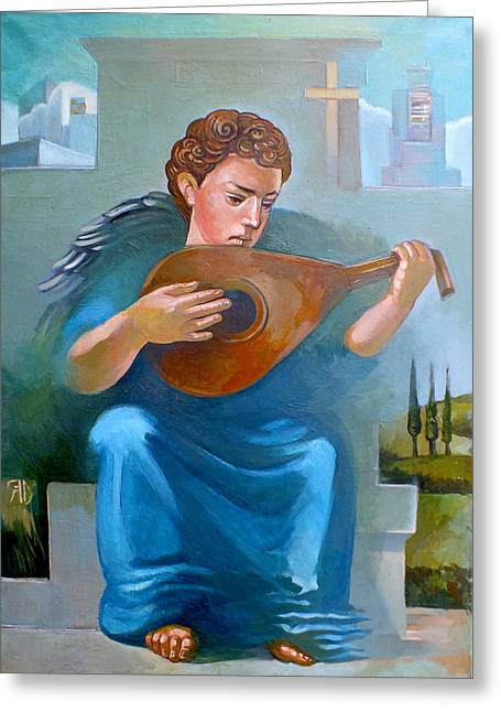 Lute Paintings Greeting Cards - Angel of Recession Greeting Card by Filip Mihail