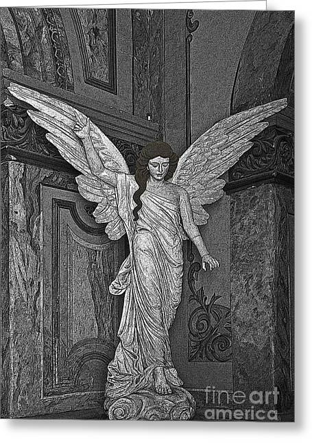 Angel Of Santo Domingo Church In Cuenca Greeting Card by Al Bourassa