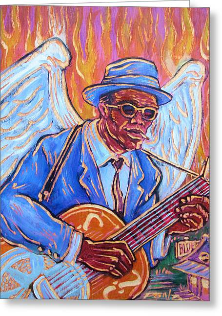 Ponz Greeting Cards - Angel of The Blues Greeting Card by Robert Ponzio
