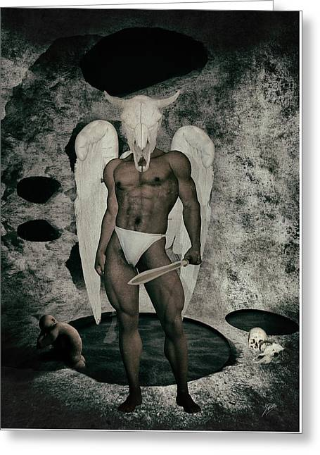 Seraphim Angel Mixed Media Greeting Cards - Danse macabre By Quim Abella Greeting Card by Joaquin Abella