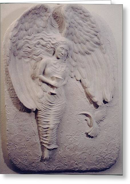 Ceramic Sculpture Ceramics Greeting Cards - Angel of the Grail Greeting Card by Charles Lucas