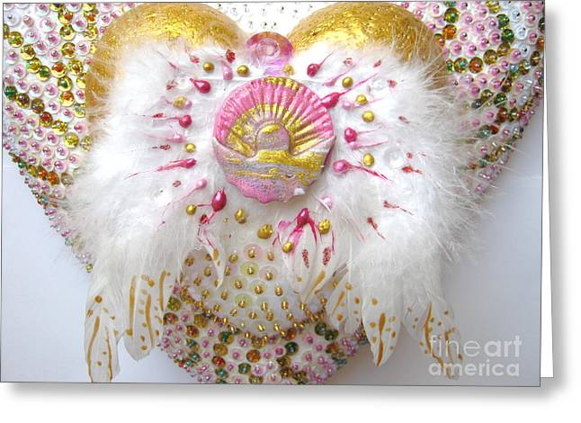 Spiritual Art Reliefs Greeting Cards - Angel of the new morning detail Greeting Card by Heidi Sieber