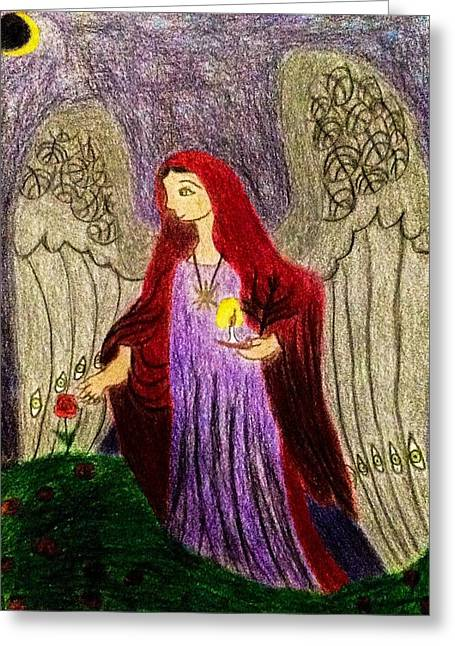 Night Angel Drawings Greeting Cards - Angel of the Roses Greeting Card by Andrew Moreno
