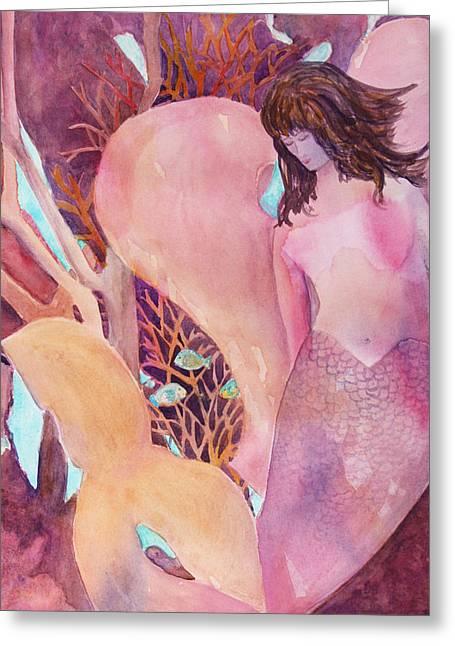 Angel Mermaids Ocean Greeting Cards - Angel of the Sea Greeting Card by Teri  Jones