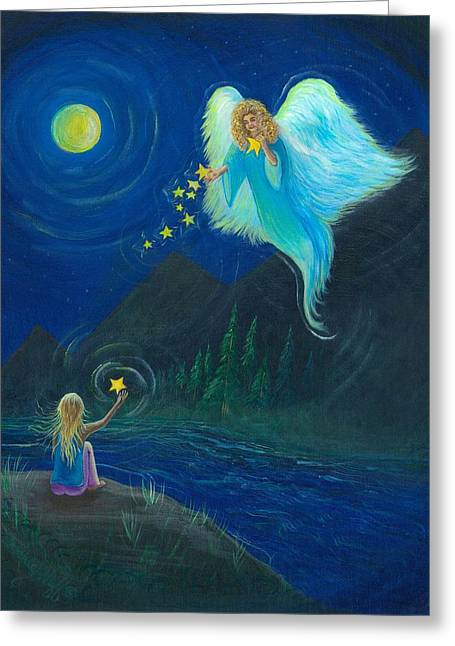 Night Angel Greeting Cards - Angel of the Stars Greeting Card by Beckie J Neff