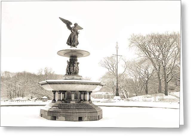 Bethesda Fountain Greeting Cards - Angel of the Waters - Central Park - Winter Greeting Card by Vivienne Gucwa