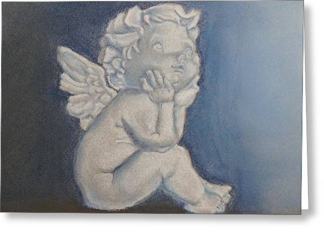 Statue Portrait Pastels Greeting Cards - Angel Greeting Card by Olga Reb