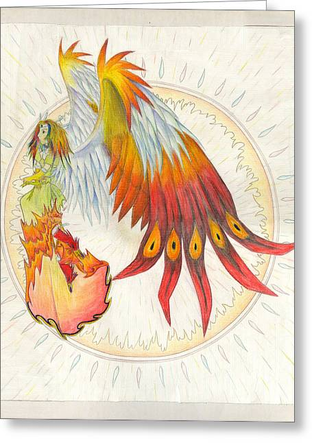Pinion Paintings Greeting Cards - Angel Phoenix Greeting Card by Shawn Dall
