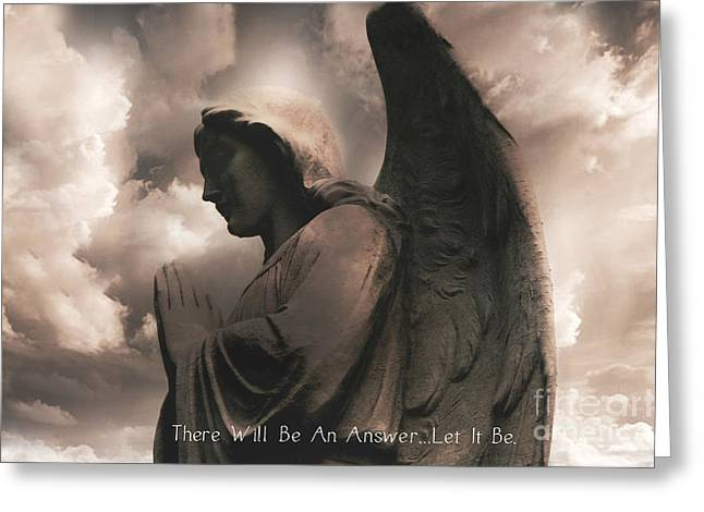 Surreal Angel Art Greeting Cards - Angel Praying Heavenly Clouds Sepia Angel Art - Inspirational Angel In Prayer  Greeting Card by Kathy Fornal