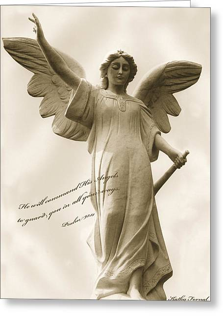 Bible Scripture Prints Greeting Cards - Angel Religious Spiritual Inspirational Art Greeting Card by Kathy Fornal