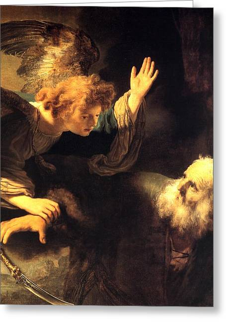 Storm Prints Paintings Greeting Cards - Angel and Prophet Greeting Card by Rembrandt