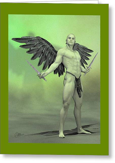 Archangel Greeting Cards - Angel Ripper Greeting Card by Joaquin Abella