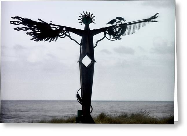 Sculptures Greeting Cards - Angel Sculpture on the Oregon Coast Greeting Card by Carol Leigh