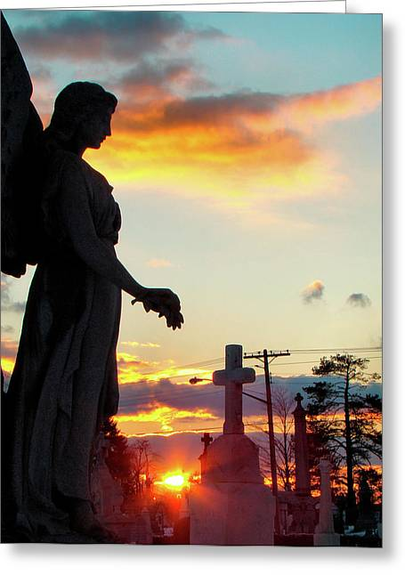 Photos With Red Greeting Cards - Angel Silhouette in Burst of Colors Greeting Card by Gothicolors Donna Snyder