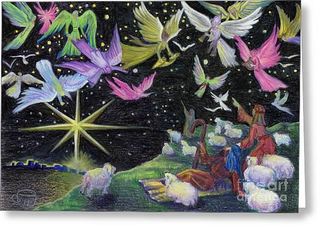 Night Angel Drawings Greeting Cards - Angel Skies Greeting Card by Nancy Cupp