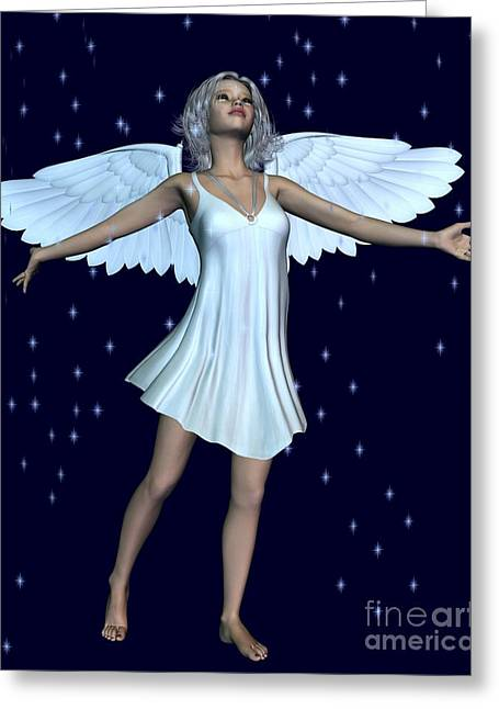 Angel With Star Greeting Cards - Angel Sparkles Greeting Card by Fairy Fantasies