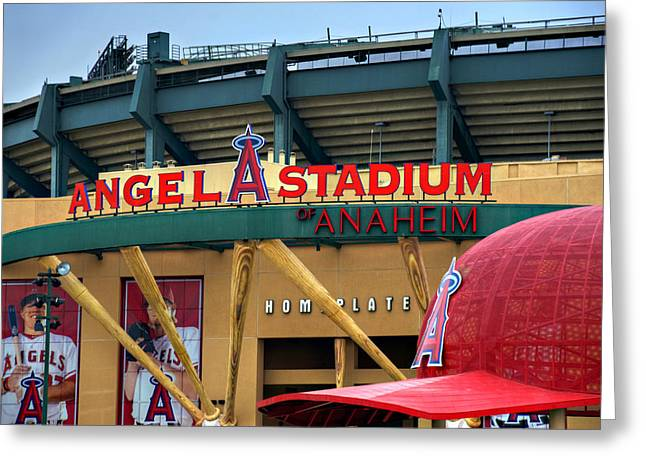 Baseball Art Print Greeting Cards - Angel Stadium Greeting Card by Ricky Barnard