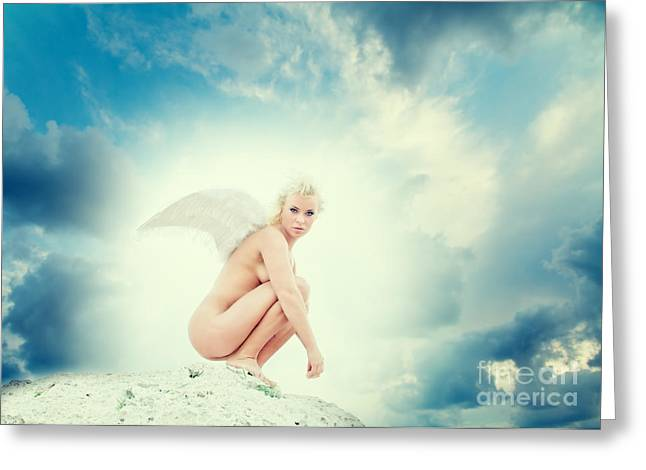 Angel Art Greeting Cards - Angel Greeting Card by Stylianos Kleanthous