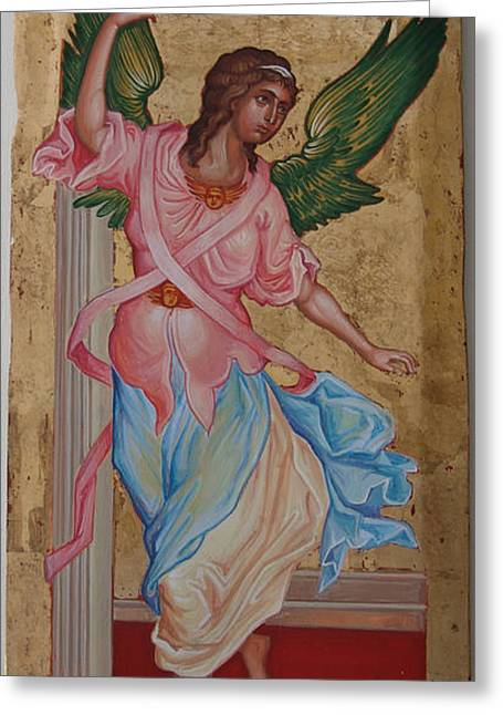 Angel  The Annunciation Greeting Card by Charalampos Gkolfinopulos