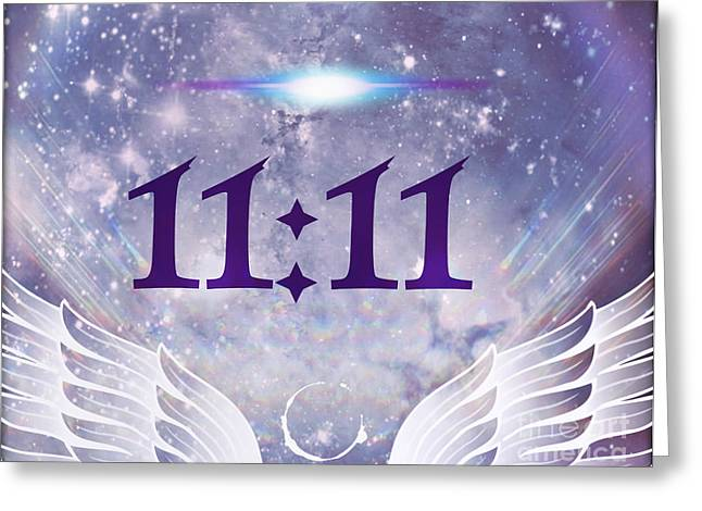 Angels Numbers Greeting Cards - Angel Time Greeting Card by Ashe Aria Leighland