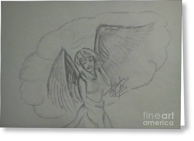 Chevalier Drawings Greeting Cards - Angel Greeting Card by Troy Chevalier