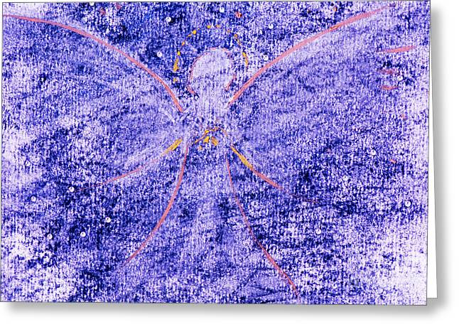 Night Angel Greeting Cards - Angel visit Greeting Card by Moira Rowe