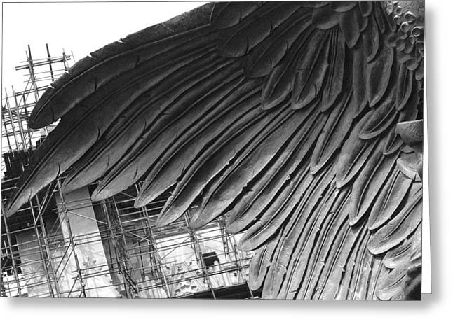 Times Square Digital Art Greeting Cards - Angel wings architecture - NYC photography Greeting Card by ArtyZen Studios