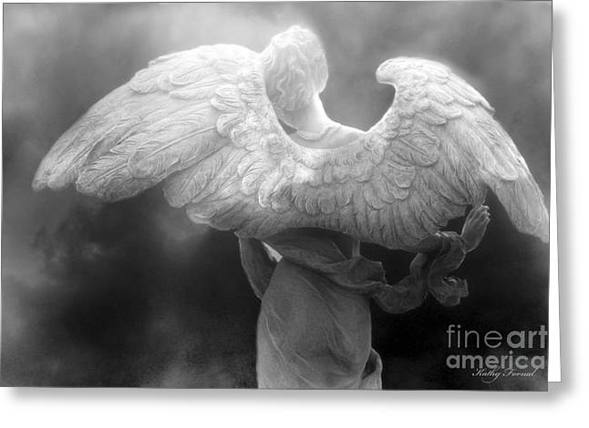 Sculpture Art Greeting Cards - Angel Wings - Dreamy Surreal Angel Wings Black and White Fine Art Photography Greeting Card by Kathy Fornal