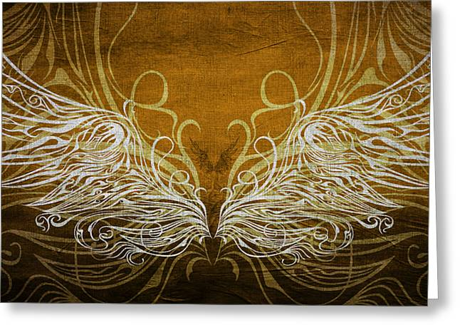 Angel Wings Gold Greeting Card by Angelina Vick