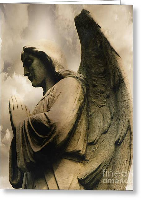 Angel Wings Praying - Spiritual Angel In Clouds Greeting Card by Kathy Fornal