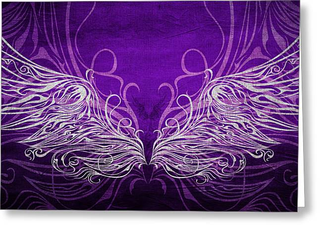 Wings Mixed Media Greeting Cards - Angel Wings Royal Greeting Card by Angelina Vick