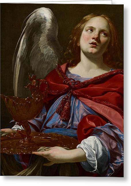 Holy Vessels Greeting Cards - Angel with Attributes of the Passion Greeting Card by Simon Vouet