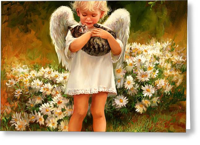 Child Care Greeting Cards - Angel with Cat Greeting Card by Laurie Hein
